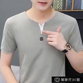 棉男士V領短袖T恤衫夏季上衣服青少年時尚男裝半【全館免運】