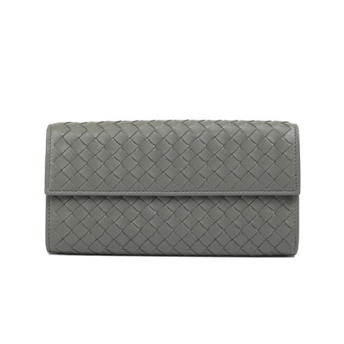 BOTTEGA VENETA 經典編織小羊皮釦式長夾(灰色)