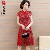 媽媽禮服 媽媽夏裝中國風連衣裙40歲50中年人改良旗袍中老年中長款婚宴禮服 韓菲兒