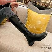 系帶長筒靴女不過膝高筒靴騎士靴綁帶長靴秋冬【時尚大衣櫥】