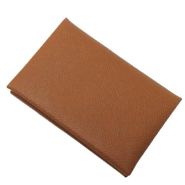 HERMES 愛馬仕 Calvi Card Holder Gold  焦糖色牛皮釦式對折名片夾 Y刻【BRAND OFF】