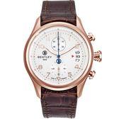 【BENTLEY】賓利 AVIATOR系列 遨翔菁英計時手錶 (白面/咖啡 BL1684-10RWD)