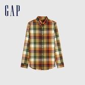 Gap男裝 時尚條紋府綢布翻領長袖襯衫 619465-黃綠格紋