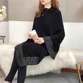 2020新款秋冬斗篷披肩外搭蝙蝠針織衫鑲鉆黑色毛衣高領不規則外套蘇菲小店