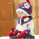 韓版寶寶帽童帽兒童帽子毛絨帽嬰兒毛線帽圍巾/二件套(棒球造型)無手套無手套