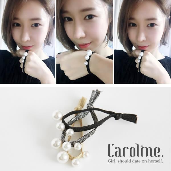 《Caroline》韓國流行歐美設計珍珠質感精緻風格兩用手繩髮圈髮束68909
