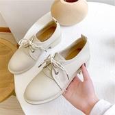 鞋子女2019新款加絨單鞋小皮鞋英倫風百搭中跟粗跟洋氣軟皮秋冬款  Cocoa