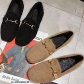單鞋女豆豆鞋金屬扣方頭平底毛毛鞋復古懶人鞋棉瓢鞋   傑克型男館