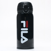 FILA 黑 大字LOGO 不鏽鋼 矽膠蓋 330ML 保溫杯(布魯克林) OTT9020BK