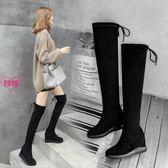 過膝靴 過膝靴 內增高 長靴 厚底 長筒靴 平底 彈力靴 女靴