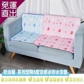 奶油獅 雪花樂園-長效型降6度涼感冰砂冰涼墊三件組90x140cm(一床+二枕) -粉/藍【免運直出】