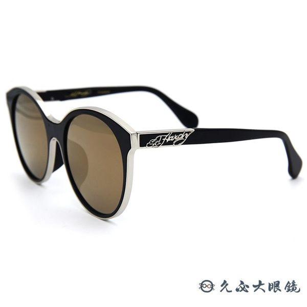 Ed Hardy 太陽眼鏡 鈦 貓眼 墨鏡 EH1044 BLACK II 黑銀 眼鏡推薦 久必大眼鏡