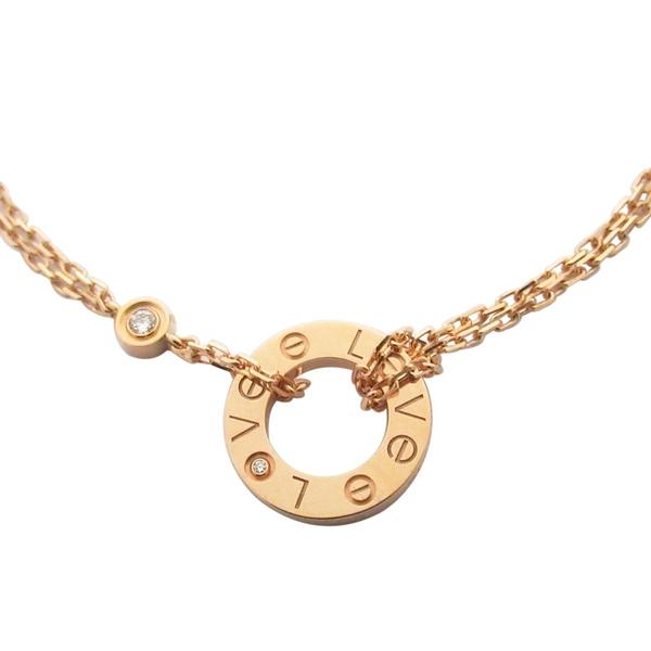 Cartier 卡地亞 LOVE系列18K玫瑰金嵌鑽手鍊 Necklace 2 Diamonds【BRAND OFF】