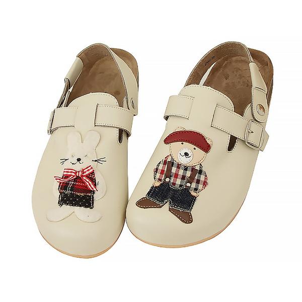【Jingle】泰德熊寶貝前包後空軟木休閒鞋(百搭米兒童款)