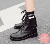 低跟短靴 休閒運動款撞色馬甲綁帶 騎士靴 襪靴 裸靴 踝靴 *Kwoomi-A121