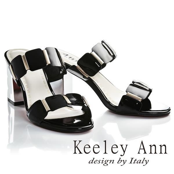 ★2019春夏★Keeley Ann氣質名媛 一字幾何方形素面高跟拖鞋(黑色)-Ann系列