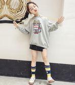 年終9折大促 女童連帽大學T2018新款秋裝韓版潮兒童洋氣中大童卡通寬鬆長袖上衣