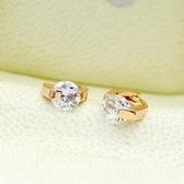 耳環 玫瑰金純銀鑲鑽-甜美氣質情人節生日禮物女耳針73gt213【時尚巴黎】