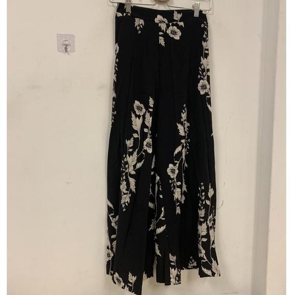 新款洋氣時尚高腰顯瘦印花高腰垂感闊腿褲長褲裙(M號/777-11239)