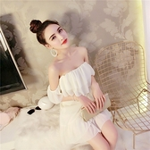 抹胸洋裝 夏性感氣質抹胸一字肩荷葉邊不規則繫帶白色連身裙女神風-Ballet朵朵