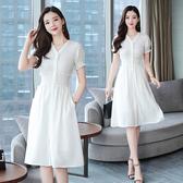 洋裝 輕熟風 淑女裙 9862夏季法式復古裙過膝很仙的法國小眾白色裙連身裙H325依佳衣