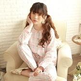 睡衣-長袖經典格紋清新休閒棉質女居家服套裝3色73ol2【時尚巴黎】