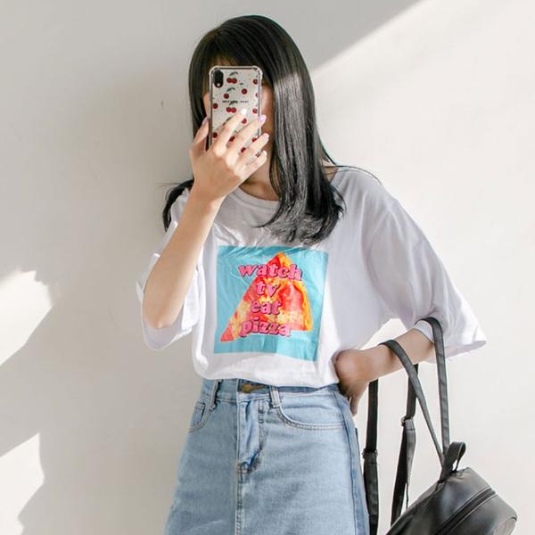 MUMU【T61557】美味PIZZA!舒適純棉短袖T恤
