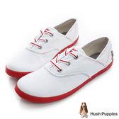 Hush Puppies 三原色系咖啡紗帆布鞋-白/紅