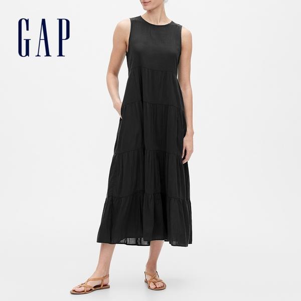 Gap女裝 優雅圓領無袖洋裝 700106-黑色