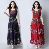 洋裝-夏季新款民族風大碼女裝裙子寬鬆背心裙印花長裙棉麻連身裙女 Korea時尚記