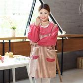 韓版可愛時尚反背衣 長袖圍裙 廚房反穿衣圍裙幼兒園工作服