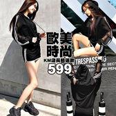 克妹Ke-Mei【ZT54225】ins歐美街頭超酷個性單槓透視袖連帽外套+褲裙套裝