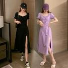 法式洋裝 大碼連身裙女夏裝氣質法式復古收腰顯瘦開叉中長裙子-Ballet朵朵