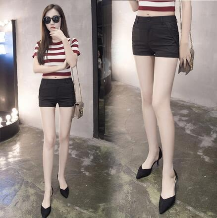 【AU009】黑色外穿西裝短褲 女士休閒褲鉛筆褲 韓版休閒短褲5307