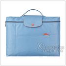 LONGCHAMP COLLECTION系列刺繡LOGO尼龍摺疊款手提公事包(霧藍x橘)