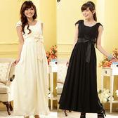 中大尺碼~晚宴約會遮肩瘦腰加長款禮服連衣裙(F~3XL)