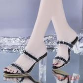 粗跟拖鞋 2020夏季新款高跟鞋性感半拖鞋透明外穿涼拖鞋百搭一字拖 OO12907【Rose中大尺碼】