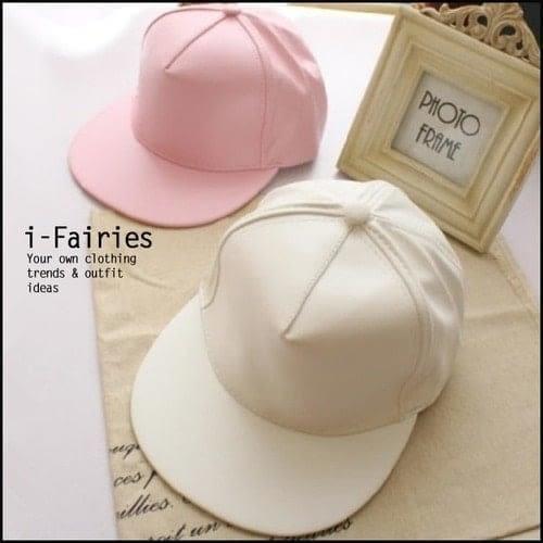 現貨+快速★棒球帽 素面高級人造皮革質嘻哈平沿光板帽★ifairies【LF26074】