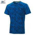 MIZUNO 男裝 短袖 T恤 圓領 慢跑 路跑 吸汗快乾 拼接 透氣 藍【運動世界】J2TA000222
