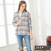 【JEEP】女裝 法蘭絨格紋長袖襯衫式外套 (灰格紋)