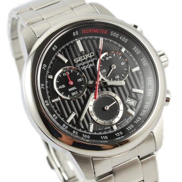 【萬年鐘錶】SEIKO 三眼計時碼錶  日期顯示  防水百米 黑錶面 SSB205P1(8T68-00A0D)