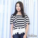 Victoria 條紋拼接下襬蕾絲短袖T-女
