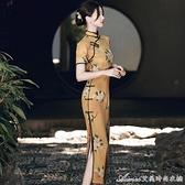 高檔旗袍改良版少女長款中國風年輕款復古高端薄款收腰氣質洋裝 快速出貨