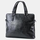 新款簡約男士手提包公文包休閒出差電腦文件包單肩包韓版辦公包潮