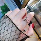 歐美氣質鑲鉆打結指環開口戒指時尚食指關節戒女潮【繁星小鎮】