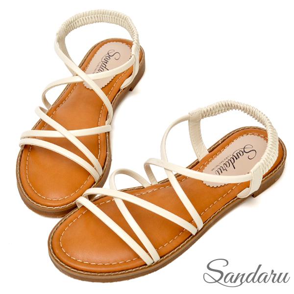 交叉線條軟底涼鞋