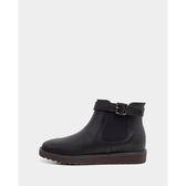 真皮短靴-R&BB牛皮*皮條微厚底可愛簡約工程靴雪靴-黑色