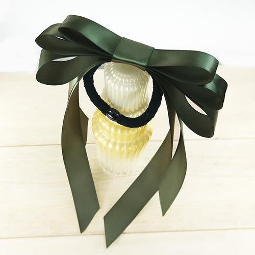 【粉紅堂 髮飾】 優雅層次緞帶蝴蝶結髮束 *軍綠色*