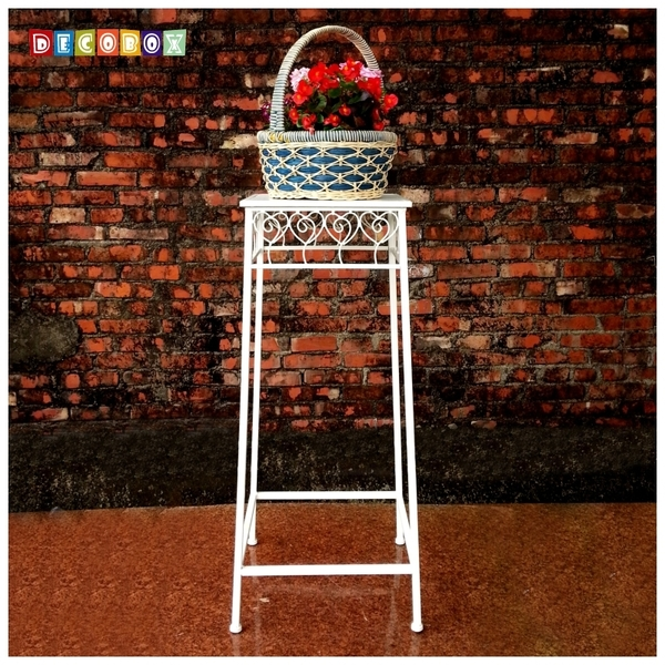 DecoBox心語白色方形大花架 (多肉花架,羅馬柱,走道花鐵架,展示架)