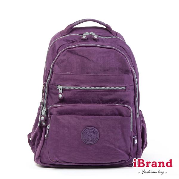 【i Brand】經典百搭超輕盈多口袋後背包-優雅紫 TGT-1604-A